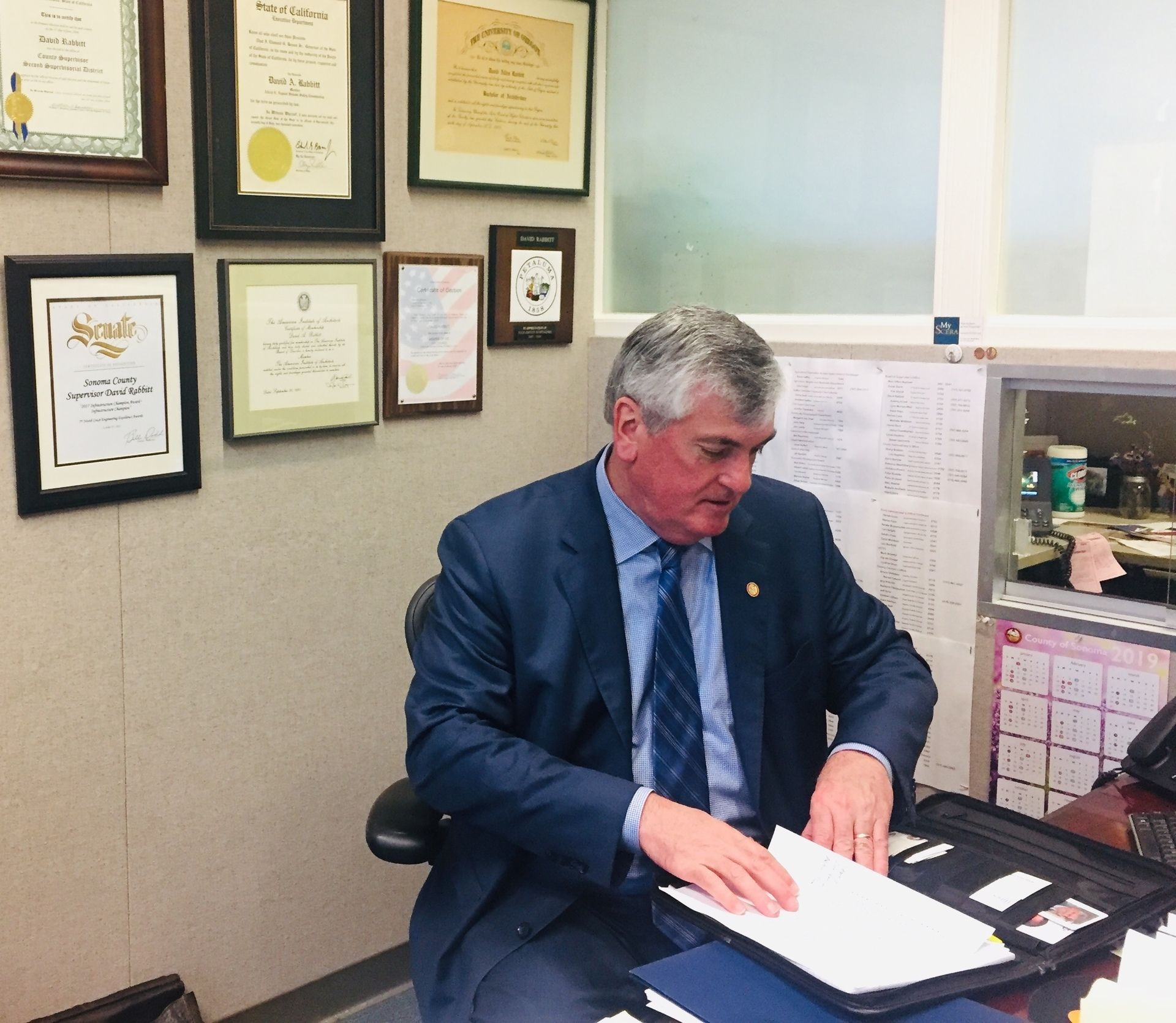 Supervisor David Rabbitt at his desk