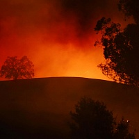 Hillside burning on Calistoga and Badger road